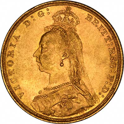 Obverse of 1889 London Mint  Sovereign