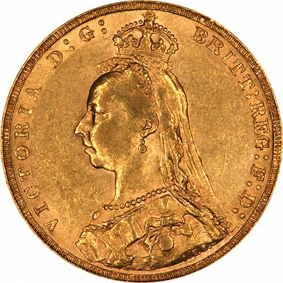 Obverse of 1891 Sovereign - Short Tail Horse