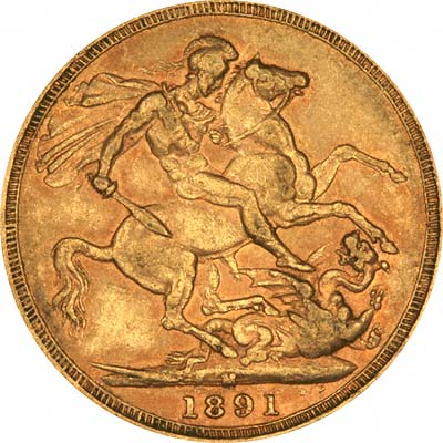 Reverse of 1891 Melbourne Mint Sovereign