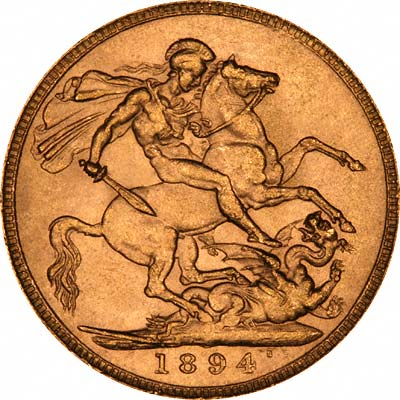 Reverse of 1894 London Mint Gold Sovereign