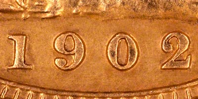 1902 London Mint Sovereign - Close Up of Date