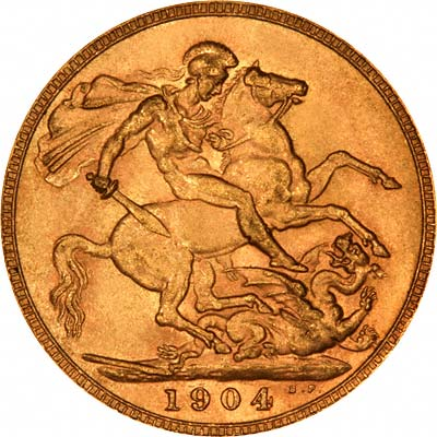 Reverse of 1904 London Mint Sovereign