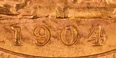 1904 Melbourne Mint Sovereign - Close Up of Date