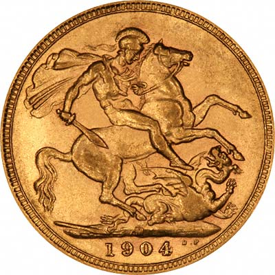 Reverse of 1904 Melbourne Mint Sovereign
