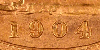 1904 Perth Mint Sovereign - Close Up of Date