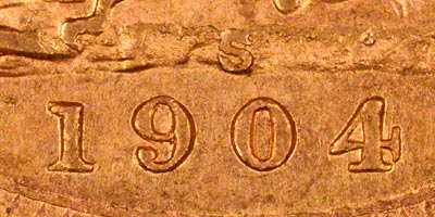 1904 Sydney Mint Sovereign - Close Up of Date