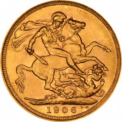 Reverse of 1906 Sydney Mint  Sovereign