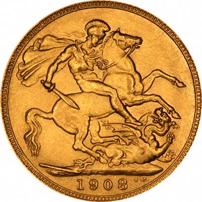 Reverse of 1908 London Mint Sovereign