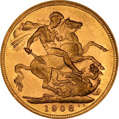Reverse of 1908 Melbourne Mint Sovereign