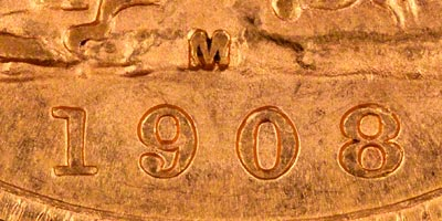 1908 Melbourne Mint Sovereign - Close Up of Date