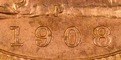 1908 Perth Mint Sovereign - Close Up of Date