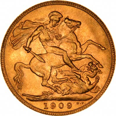 Reverse of 1909 London Mint Sovereign