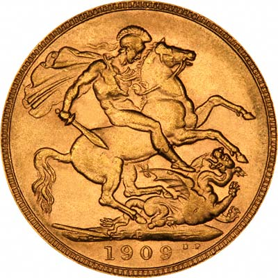 Reverse of 1909 Perth Mint Sovereign