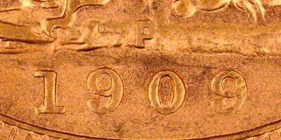 1909 Perth Mint Sovereign - Close Up of Date