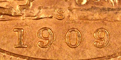 1909 Sydney Mint Sovereign - Close Up of Date