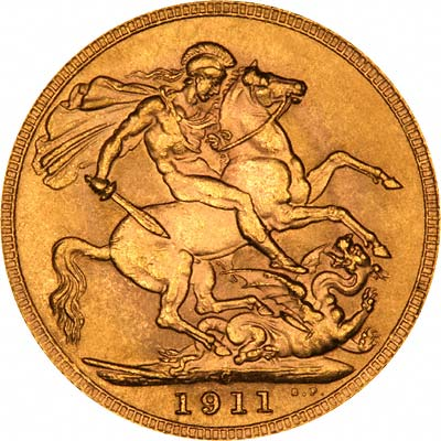 Reverse of 1911 George V Sovereign