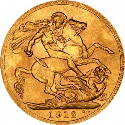 Reverse of 1912 London Mint Sovereign