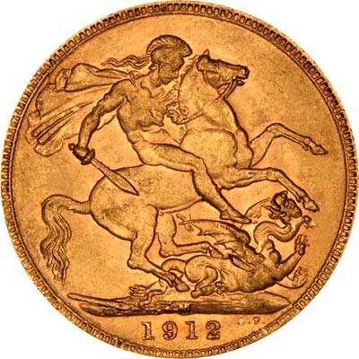 Reverse of 1912 Melbourne Mint Sovereign