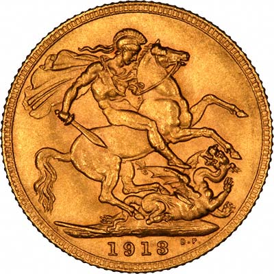 Reverse of 1913 London Mint Sovereign