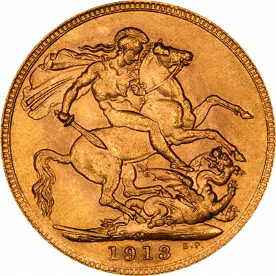 Reverse of 1913 Melbourne Mint Sovereign