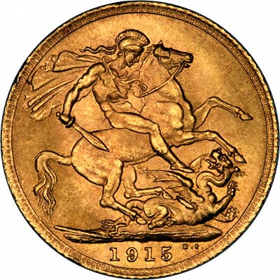 Reverse of 1915 London Mint Sovereign