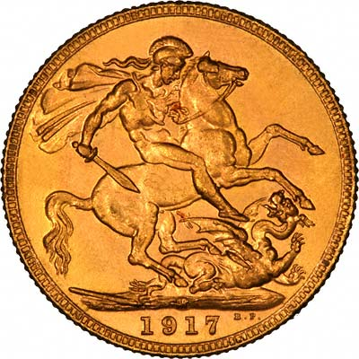 Reverse of 1917 Melbourne Mint Sovereign