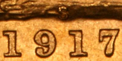Close Up of Date & Mintmark of 1917 Sydney Mint Sovereign