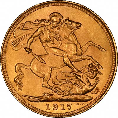Reverse of 1917 Sydney Mint Sovereign