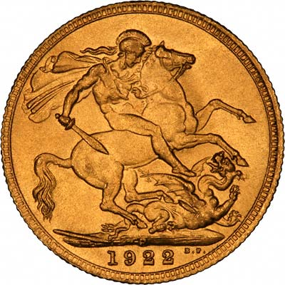 Reverse of 1922 Perth Mint Sovereign