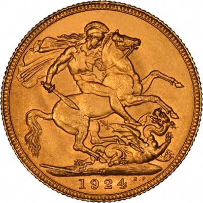 Reverse of 1924 Melbourne Mint Sovereign