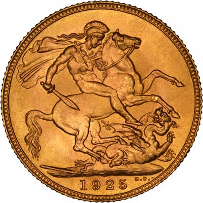 Reverse of 1925 London Mint Sovereign