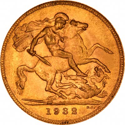 Reverse of 1932 Sovereign