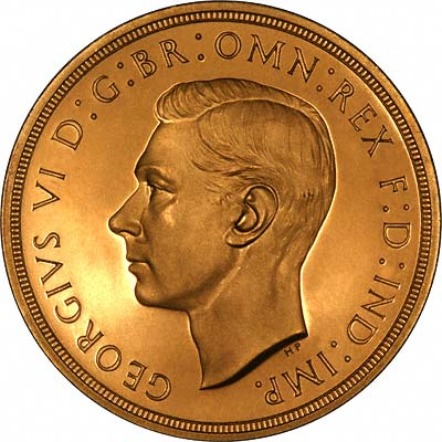 Obverse of 1937 Gold Proof Quintuple Sovereign