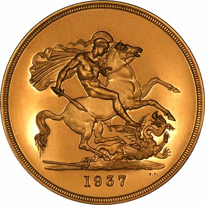 Reverse of 1937 Gold Proof Quintuple Sovereign