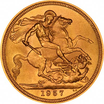 Reverse of 1957 Gold Sovereign