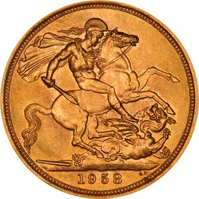 Saint George & Dragon Reverse on 1958 Sovereign