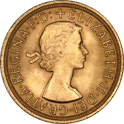 Obverse of 1962 Gold Sovereign