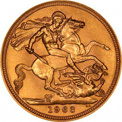 Reverse of 1963 Gold Sovereign