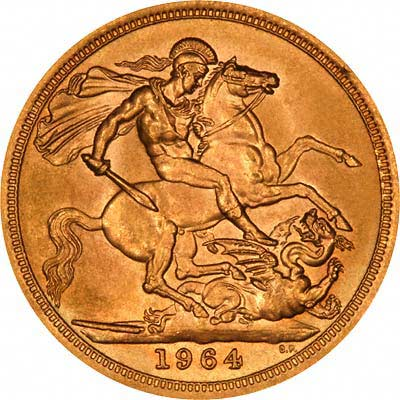 Benedetto Pistrucci's Famous Saint George & Dragon Design On Reverse of 1964 Sovereign