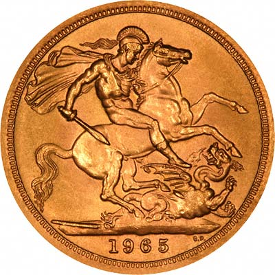 Reverse of 1965 Gold Sovereign