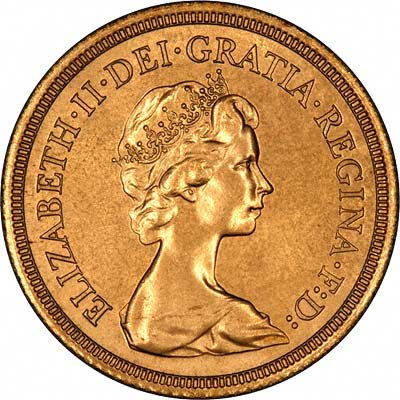 Obverse of 1980 Sovereign