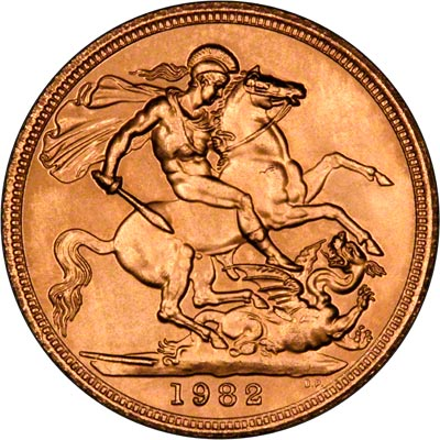 Reverse of 1982 Uncirculated Sovereign