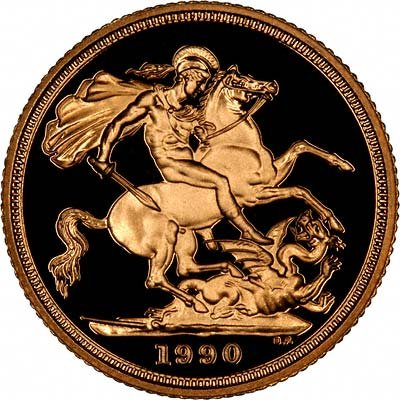 Reverse of 1990 Proof Gold Sovereign