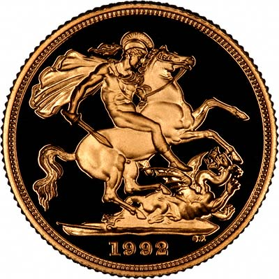 Reverse of 1992 Proof Gold Sovereign