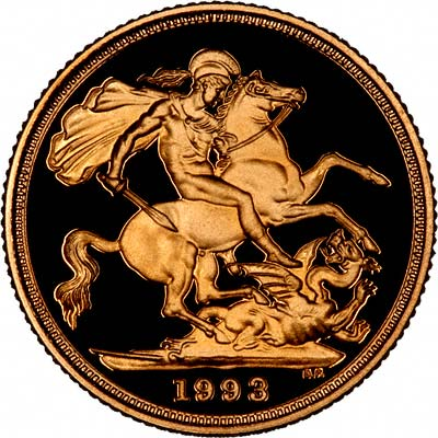 Reverse of 1993 Proof Gold Sovereign