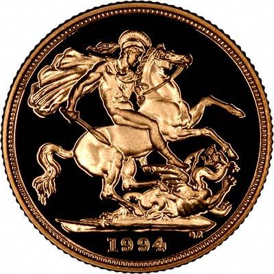 Reverse of 1994 Proof Gold Sovereign