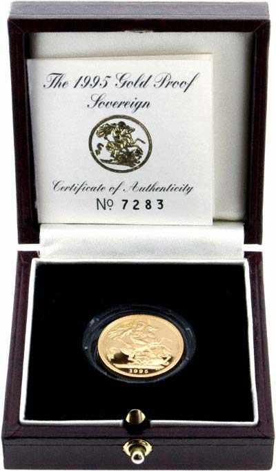 Reverse of 1995 Proof Sovereign in Presentation Box