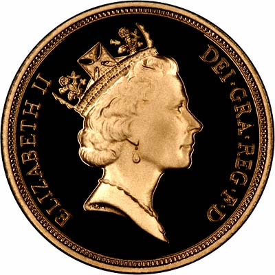 Obverse of 1995 Proof Gold Sovereign