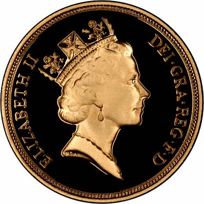 Obverse of 1996 Proof Gold Sovereign