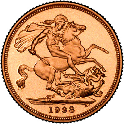 Reverse of 1998 Proof Gold Sovereign